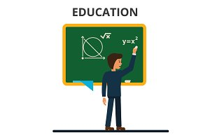 Student, pupil standing in front of math school blackboard. School teacher, professor teaching lesson. Flat style vector illustration isolated on white background.