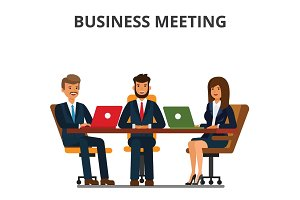 Business meeting. Businessmen and businesswoman sit at the table. Team work together, discussion, interviews, negotiations. Flat style vector illustration isolated on white background.