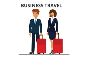 International business travel. Businessman and businesswoman with suitcase. Passengers with luggage. Flat style vector illustration isolated on white background.