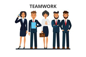 Business team. Teamwork. A group of businesspeople. Businessman and businesswoman characters. Flat style vector illustration isolated on white background.
