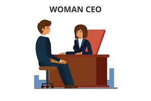 Woman ceo working with assistant. Female manager sitting at the desk and working at the computer. Businesswoman leadership. Business negotiation. Flat vector illustration isolated on white background.