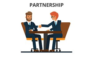 Business partnership. Businessmen handshake. Negogiation table. Men shaking hands on a signed contract. Flat style vector illustration isolated on white background.