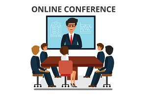 Business people meeting. Web conference in office. Corporate people looking at video presentation screen. Discussion, brainstorming. Flat style vector illustration isolated on white background.