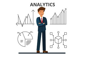 Business analytics. Young businessman looking at financial charts. Management and marketing. Data technology. Flat style vector illustration isolated on white background.