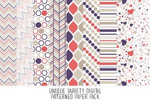 Purple & Salmon Pattern Paper Pack