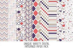 Purple & Salmon Pattern Paper Pack