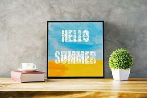 Hello Summer. Decorative card.