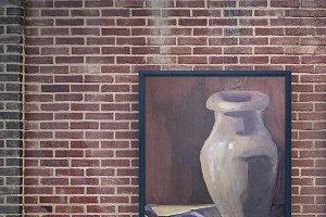 Ceramic vase and corn. Still life.