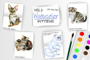 Watercolor Cute Kittens - Vol 1 of 2