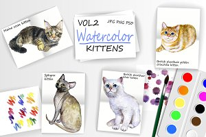 Watercolor Cute Kittens - Vol 2 of 2