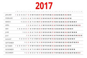 2017 calendar. Print Template. Week Starts Sunday. Portrait Orientation. Set of 12 Months. Planner for 2017 Year.