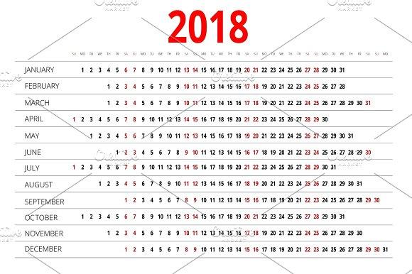 2018 calendar print template week starts sunday portrait orientation set of 12
