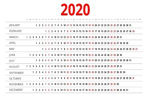 2020 calendar. Print Template. Week Starts Sunday. Portrait Orientation. Set of 12 Months. Planner for 2020 Year.