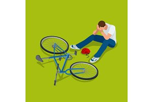 Bicycle accident. Man falls off his bicycle. Flat 3d vector isometric illustration.
