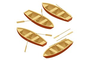 Rowing boat set. Wooden boat with paddles isolated over white. Flat 3d isometric vector illustration.