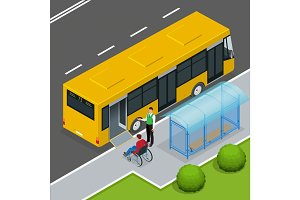 Access ramp for disabled persons and babies in a bus. Man in a wheelchair at a bus stop. Driver helping Man enter into the Bus via wheelchair ramp. Flat 3d vector isometric illustration