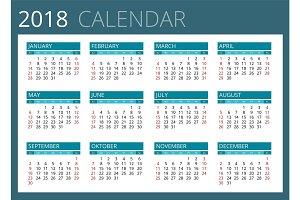 Calendar for 2018.
