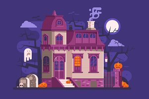Halloween Haunted House Scene