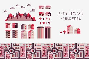 Flat Town Infographic Elements.