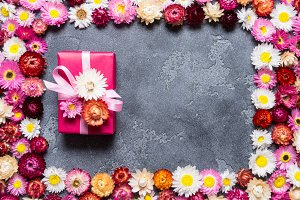 Gift boxes on floral background