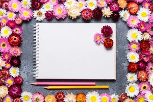 Spiral notebook with flower decor