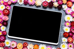 Digital tablet with floral decor
