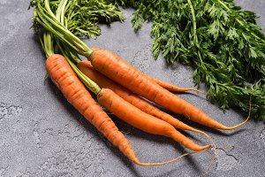 Carrots on grey background
