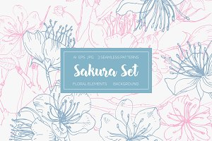 Seamless pattern,set with the sakura