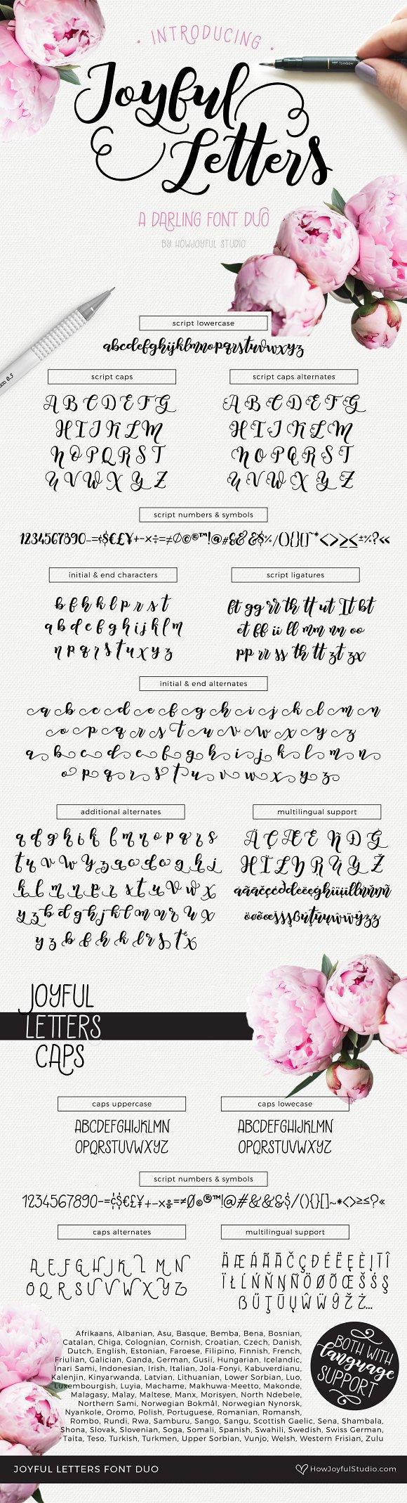 Joyful Letters Font Duo Script Fonts Creative Market