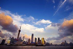 Sunset at Shanghai skyline