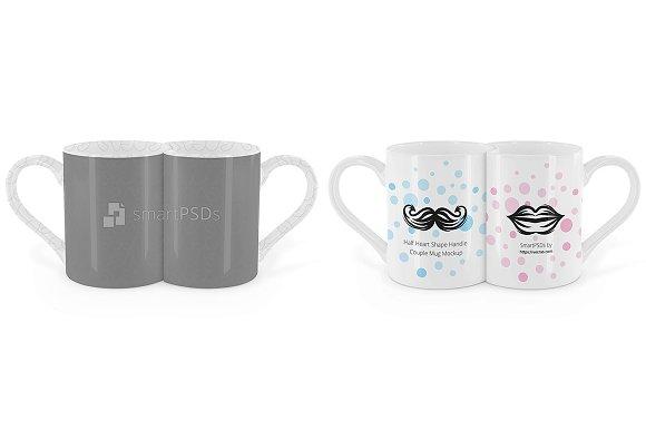 11OZ Half Heart Handle Couple Mug