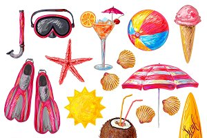 Summer Holiday Decorative Icons Set
