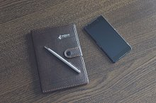 Notebook with a smartphone 1