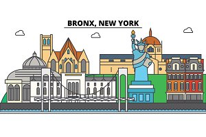 Bronx, New York. City skyline, architecture, buildings, streets, silhouette, landscape, panorama, landmarks, icons. Editable strokes. Flat design line vector illustration concept