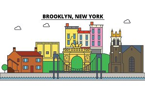 Brooklyn, New York. City skyline, architecture, buildings, streets, silhouette, landscape, panorama, landmarks, icons. Editable strokes. Flat design line vector illustration concept