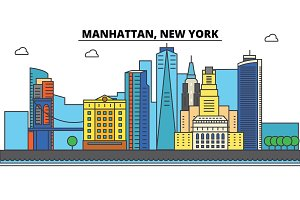 Manhattan, New York. City skyline, architecture, buildings, streets, silhouette, landscape, panorama, landmarks, icons. Editable strokes. Flat design line vector illustration concept
