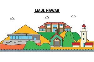 Maui, Hawaii. City skyline, architecture, buildings, streets, silhouette, landscape, panorama, landmarks, icons. Editable strokes. Flat design line vector illustration concept