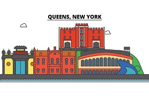 Queens, New York. City skyline, architecture, buildings, streets, silhouette, landscape, panorama, landmarks, icons. Editable strokes. Flat design line vector illustration concept