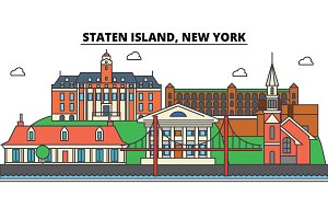 Staten Island, New York. City skyline, architecture, buildings, streets, silhouette, landscape, panorama, landmarks, icons. Editable strokes. Flat design line vector illustration concept