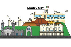 Mexico City. City skyline, architecture, buildings, streets, silhouette, landscape, panorama, landmarks, icons. Editable strokes. Flat design line vector illustration concept
