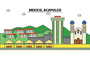 Mexico, Acapulco. City skyline, architecture, buildings, streets, silhouette, landscape, panorama, landmarks, icons. Editable strokes. Flat design line vector illustration concept