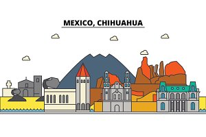 Mexico, Chihuahua. City skyline, architecture, buildings, streets, silhouette, landscape, panorama, landmarks, icons. Editable strokes. Flat design line vector illustration concept