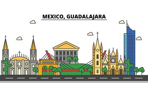 Mexico, Guadalajara. City skyline, architecture, buildings, streets, silhouette, landscape, panorama, landmarks, icons. Editable strokes. Flat design line vector illustration concept