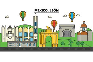 Mexico, Leon. City skyline, architecture, buildings, streets, silhouette, landscape, panorama, landmarks. Editable strokes. Flat design line vector illustration concept. Isolated icons