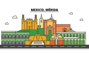 Mexico, Merida. City skyline, architecture, buildings, streets, silhouette, landscape, panorama, landmarks. Editable strokes. Flat design line vector illustration concept. Isolated icons