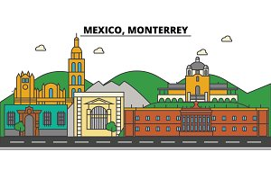 Mexico, Monterrey. City skyline, architecture, buildings, streets, silhouette, landscape, panorama, landmarks, icons. Editable strokes. Flat design line vector illustration concept
