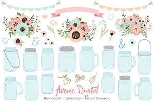 Pink and Mint Floral Mason Jars