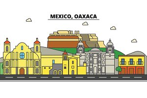 Mexico, Oaxaca. City skyline, architecture, buildings, streets, silhouette, landscape, panorama, landmarks, icons. Editable strokes. Flat design line vector illustration concept