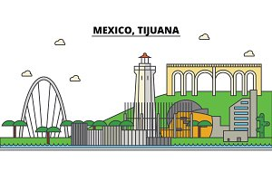 Mexico, Tijuana. City skyline, architecture, buildings, streets, silhouette, landscape, panorama, landmarks, icons. Editable strokes. Flat design line vector illustration concept