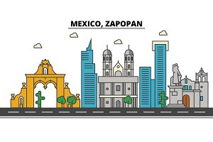 Mexico, Zapopan. City skyline, architecture, buildings, streets, silhouette, landscape, panorama, landmarks, icons. Editable strokes. Flat design line vector illustration concept